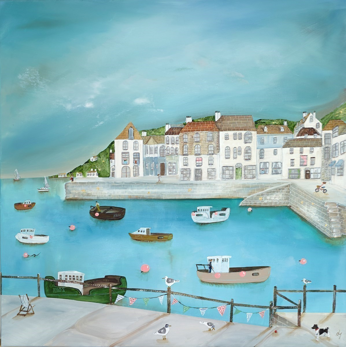 Free Little Gulls Are We by Lucy Young - Original on Stretch Canvas sized 32x32 inches. Available from Whitewall Galleries